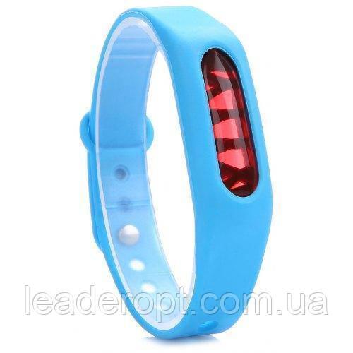 Силиконовый браслет отпугиватель от комаров и мошек для детей и взрослых голубого цвета ОПТ