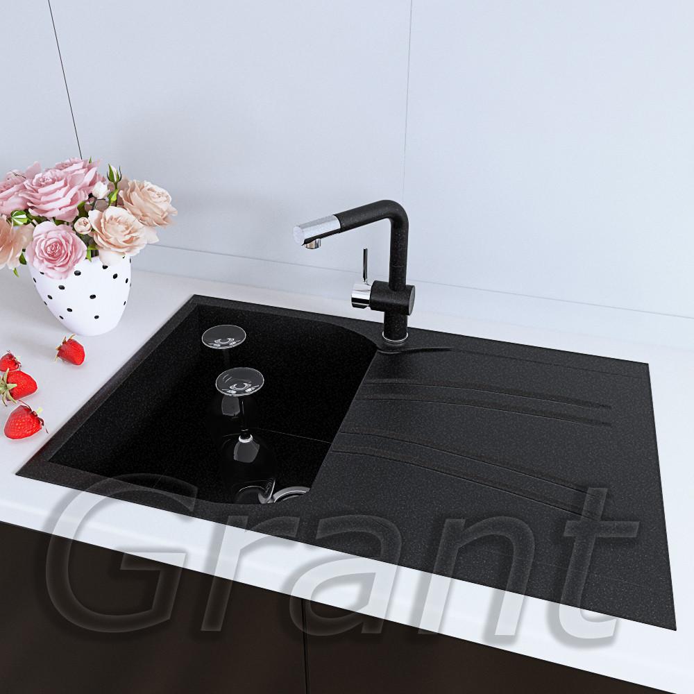 Мойка кухонная790х500 с крылом прямоугольная Grant Grain черная