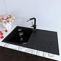 Мойка кухонная790х500 с крылом прямоугольная Grant Grain черная, фото 1