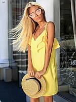 Платье женское легкое на бретелях с баской короткое 40 42 44 46 48 50 52 54 56 58 60 размер