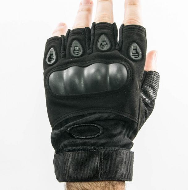 Велоперчатки с открытми пальцами и усиленным протектором косточек  Черные розмер L