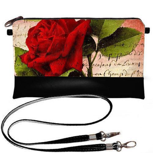 Черная сумка клатч женская с принтом Красная роза