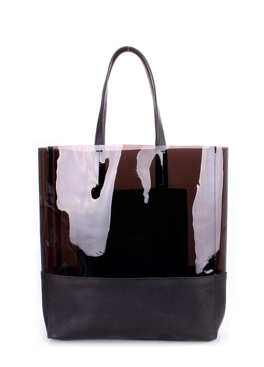 d52f618990a9 Женская кожаная сумка POOLPARTY CITY CARRIE BLACK черная - Интернет магазин