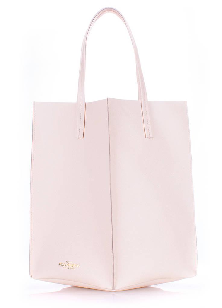 Женская кожаная сумка POOLPARTY MILAN SAFYAN CREAM кремовая