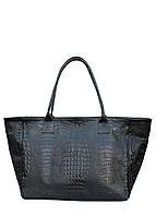 Женская кожаная сумка POOLPARTY DESIRE CROCO BLACK черная