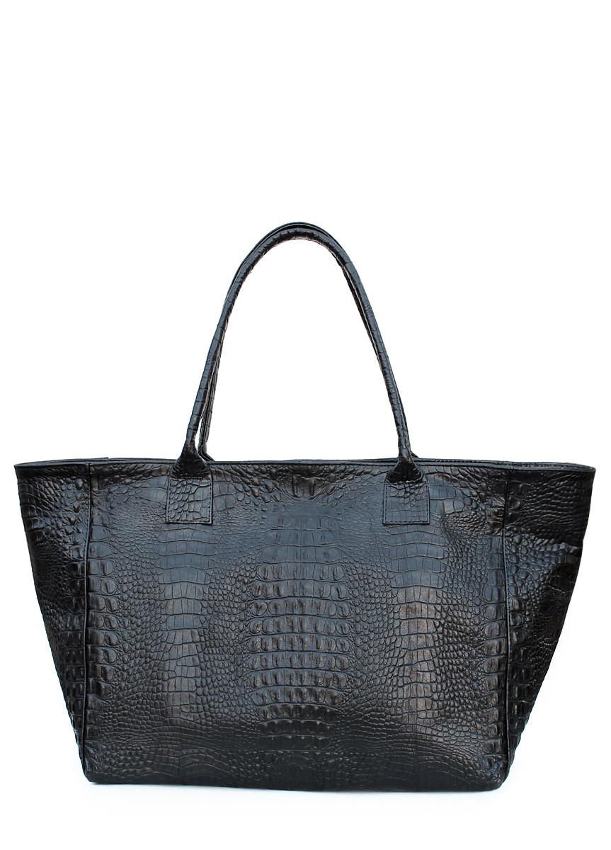 b020956f49dc Женская кожаная сумка POOLPARTY DESIRE CROCO BLACK черная - Интернет  магазин