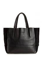 Женская кожаная сумка POOLPARTY SOHO BLACK VELOUR