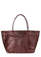 Женская кожаная сумка POOLPARTY DESIRE CROCO BROWN коричневая, фото 1