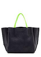 Женская кожаная сумка POOLPARTY LIMITED SOHO BLACK GREEN черная с зелеными ручками