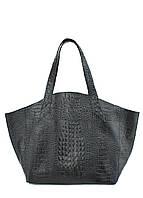 Женская кожаная сумка POOLPARTY FIORE CROCODILE BLACK черная