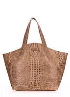 Женская кожаная сумка POOLPARTY FIORE CROCODILE BEIGE бежевая