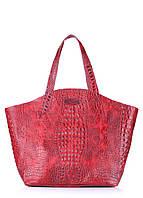 Женская кожаная сумка POOLPARTY FIORE CROCODILE RED красная