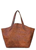 Женская кожаная сумка POOLPARTY FIORE STRUZZO BROWN коричневая