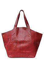 Женская кожаная сумка POOLPARTY FIORE RED SNAKE красная