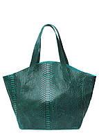 Женская кожаная сумка POOLPARTY FIORE GREEN SNAKE зеленая