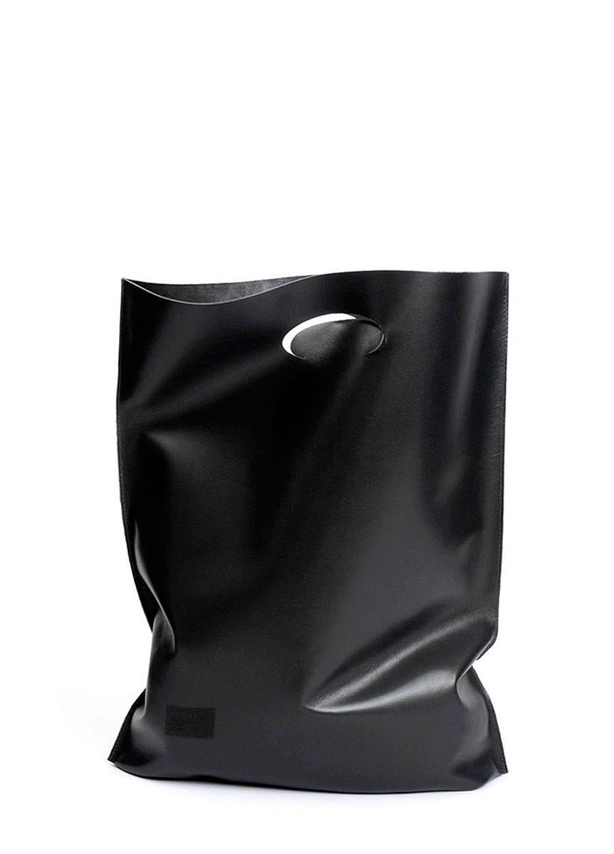 Женская кожаная сумка POOLPARTY SHOPPER BLACK черная