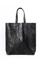Женская кожаная сумка POOLPARTY LEATHER CITY CROCO BLACK черная
