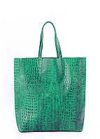 Женская кожаная сумка POOLPARTY LEATHER CITY CROCO GREEN зеленая