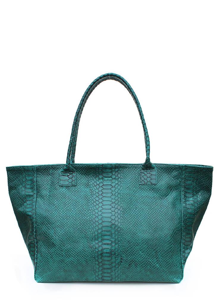 Женская кожаная сумка POOLPARTY DESIRE GREEN SNAKE зеленая