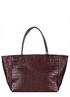 Женская кожаная сумка POOLPARTY DESIRE CAIMAN BROWN коричневая, фото 1