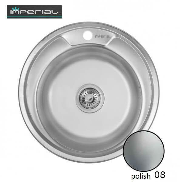 Кухонная мойка Imperial из нержавеющей стали 490-A Polish 08мм