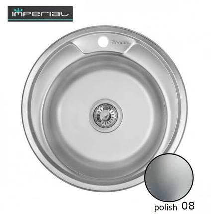 Кухонная мойка Imperial из нержавеющей стали 490-A Polish 08мм , фото 2