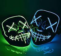 """Неоновая светящаяся маска Led Mask """"Судная ночь""""(в ящике 100 шт)."""