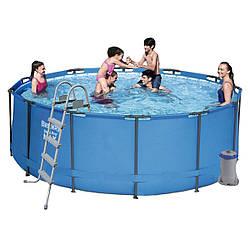 Каркасный бассейн Bestway,фильтр-насос 2006 л/ч, подстилка, тент, лестница 366х122 см (56420)