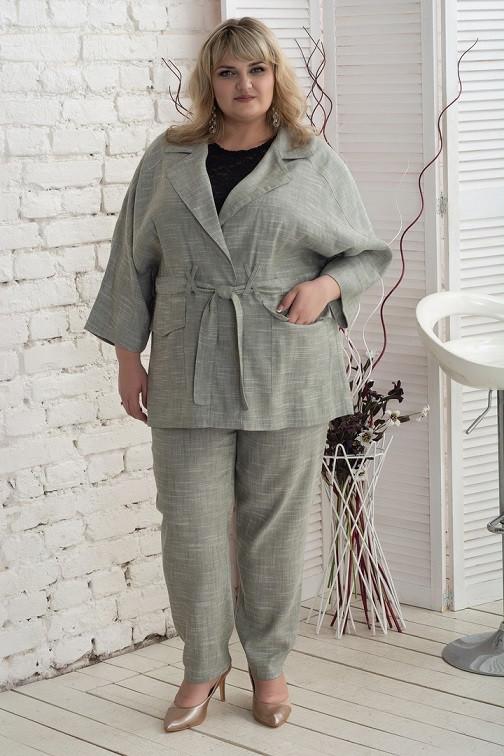 Стильный женский костюм Алена серый (58-64)