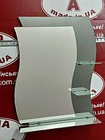 Зеркало в ванную № 51 (волна, с полочками)  /Дюбель + 6х40 в Подарок