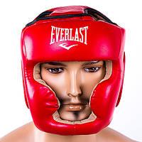Боксерский шлем закрытый Everlast кожзам Красный