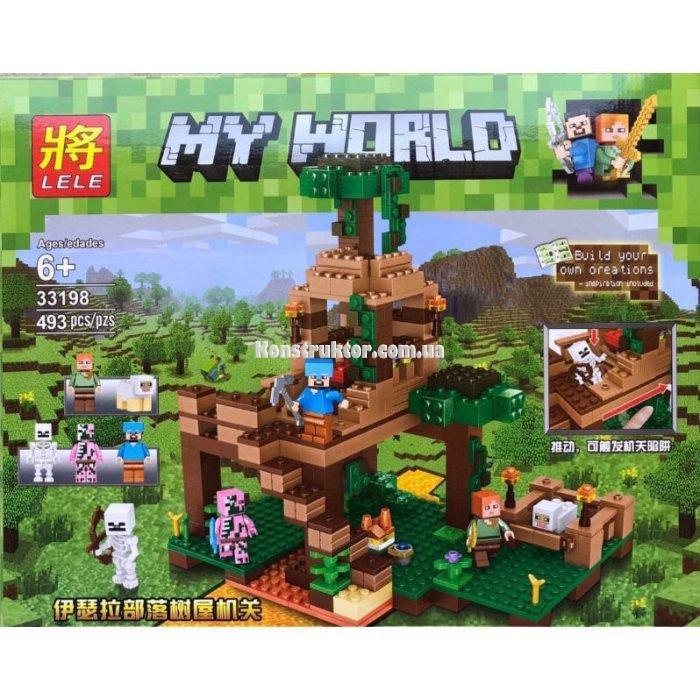 """Конструктор Lele 33198 """"Штаб в лесу"""" аналог Lego Minecraft, 493 детали."""