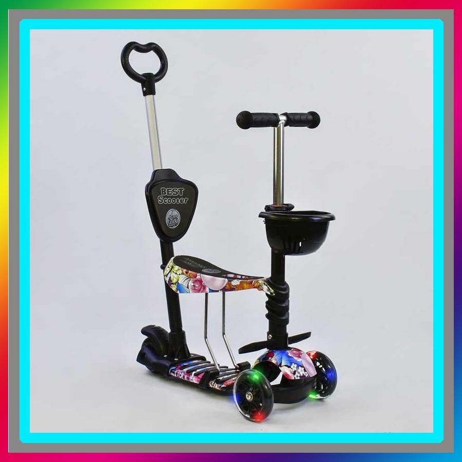 Самокат 5в1 61080 (1) Best Scooter, АБСТРАКЦИЯ, PU колеса, ПОДСВЕТКА ПЛАТФОРМЫ И КОЛЕС