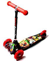 Самокат детский трехколесный Scale Sports со светящимися колесами MINI-PRINT Best. Heroes. до 4 лет