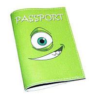 Обложка для паспорта салатовая Монстрик