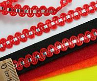 """(25 метров) Тесьма """"Стежок"""" (8мм ширина) с фольгированной лентой Цвет - Красный"""