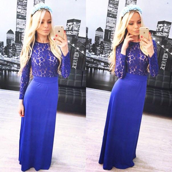 f6a376c07c0 Синее платье с кружевом  продажа