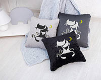 """Подушка подарочная """"Коты под луной"""" флок, фото 1"""