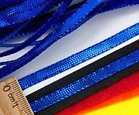 (100 метров) Шнур плоский металлизированный (5 мм ширина)  Цвет - Синий