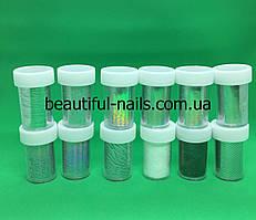 Набор переводной фольги для литья баночках серебро с голограммой