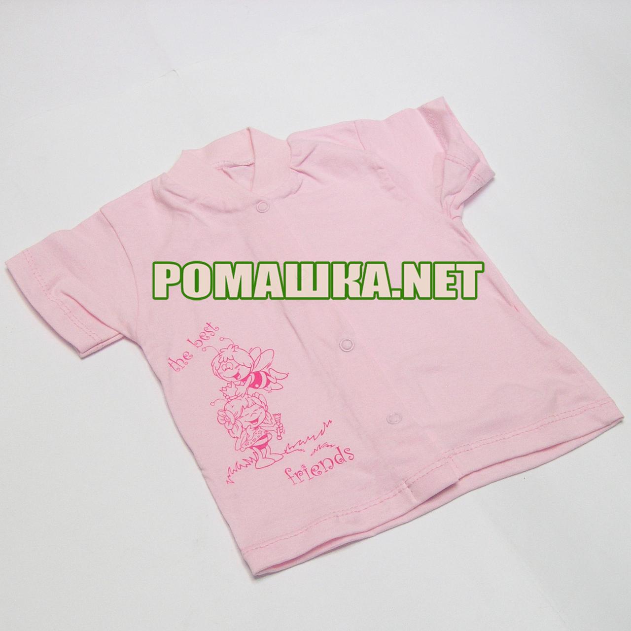 Детская кофточка футболка р 74 5-7 мес с кнопками короткий рукав для малышей летняя КУЛИР 3174 Розовый
