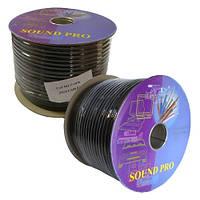 Кабель аудио-видео S-VHS 2жилы в экране Ø6мм, чёрный, 100м, Тайвань