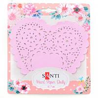 Набір серветок ажурних в формі серця, колір рожевий, діаметр 12,7 см, 12 шт. Santi