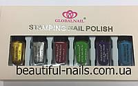Набор лак-красок для стемпинга STAMPING NAIL POLISH, 6 цветных