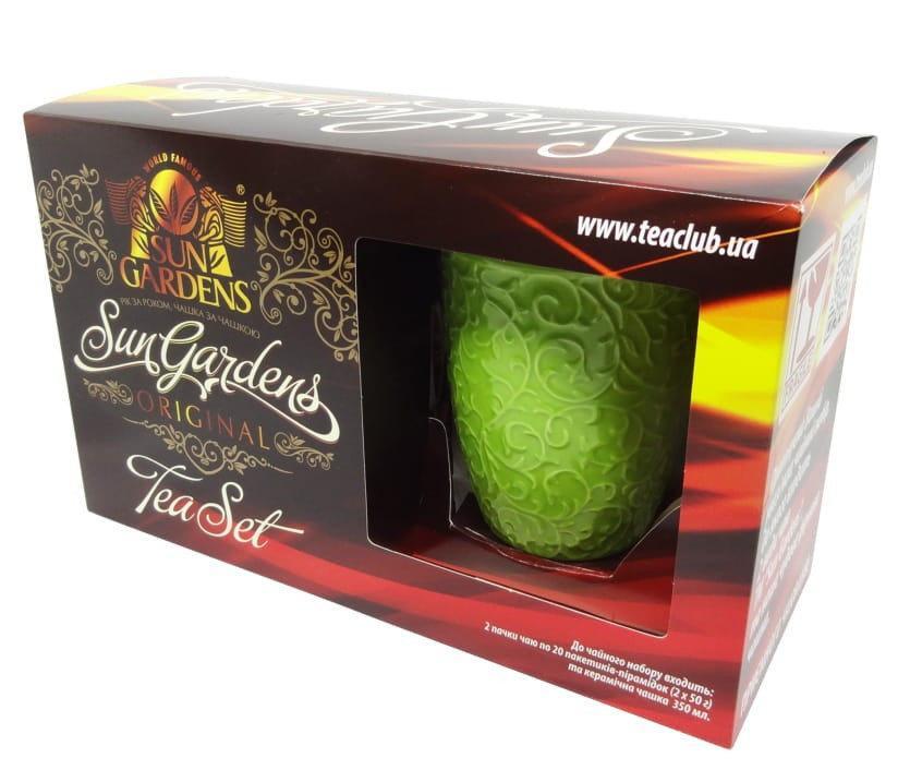 """Чай зеленый с саусепом + черный +чашка """"Gardehs"""""""