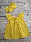 Летнее платье с повязкой Горошек, желтый (р.92/98, 98/104, 104/110)