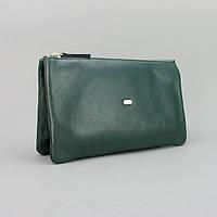 Клатч кожаный женский clutch зеленый Desisan 070