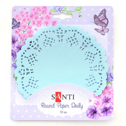 Набір серветок ажурних круглих, колір світло-блакитний, діаметр 11,4 см, 12 шт.Santi