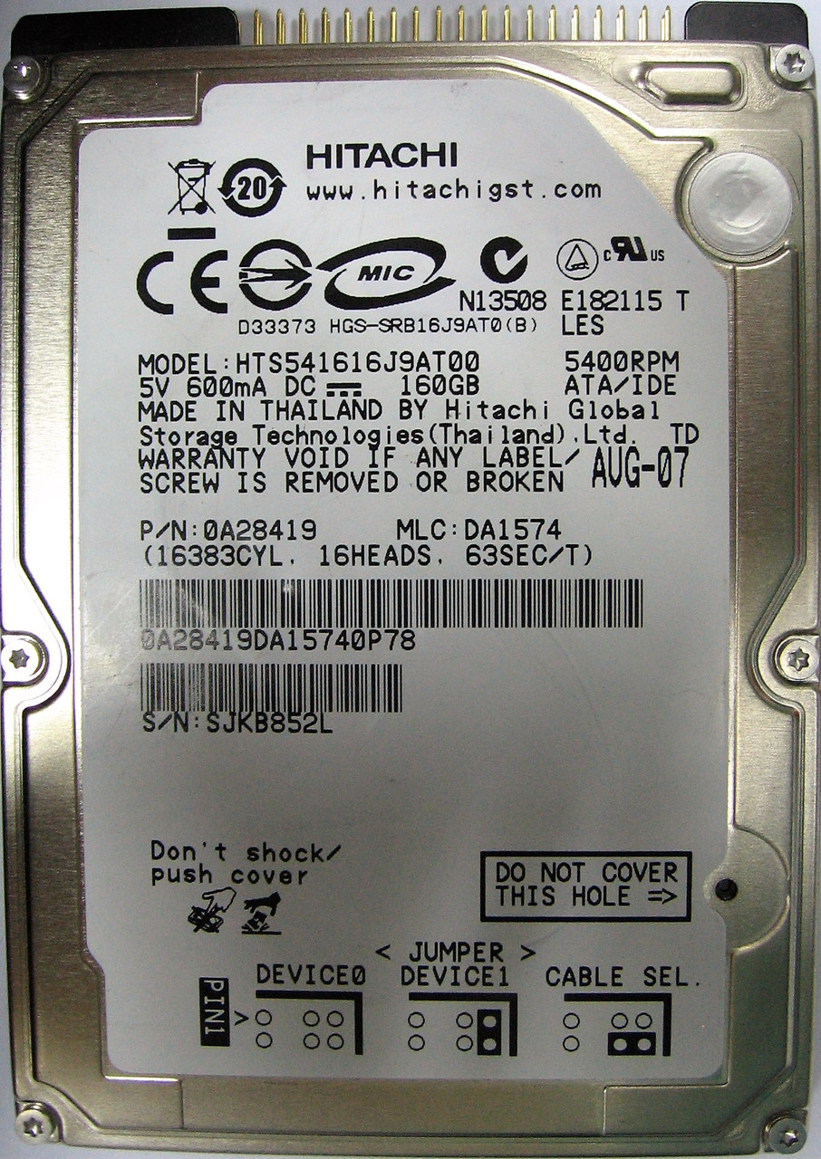 Жесткий диск HDD 160GB 5400rpm 8MB IDE 2.5 Hitachi HTS541616J9AT00 SJKB852L