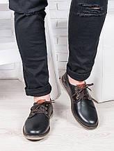 Мужские туфли черная кожа 6376-28